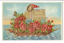 Vintage Postcard Congratulations Embossed Sailboat Decorated Roses Gold Details