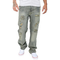 Men's Ripped Cotton Biker Jeans Pants Destroyed Frayed Slim Fit Denim Trousers