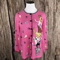 BEREK Sweater Crazy Cat Lady Beaded Embroidered Pink Cardigan Womens Size L