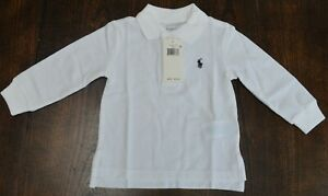 Polo Ralph Lauren baby polo rugby long sleeve shirt $30 tag white 18 mos. NWT