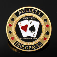 Metal Poker Guard Card Protector Coin Chip Gold Plated With Round Plastic Case