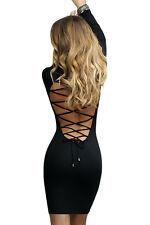 T 40/42 petite robe sexy noire décolleté dos nu chute de reins sexy avec laçages
