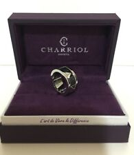 Charriol FOREVER YOUNG Steel W/ Black PVD Pyramid Studs Ring, US 7.5/EUR 56