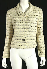 CHANEL Ivory, Black & White Tweed Logo Button-Front Jacket 42