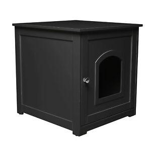 zoovilla Kitty Litter Loo Indoor Hidden Litter Box Furniture Enclosure, Black