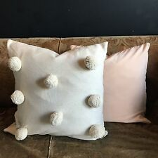 Extra Large Cream Pom Pom Scatter Cushion Giant Bohemian Off-White