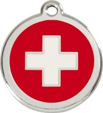 Swiss Cross Enamel/Solid Stainless Steel Engraved ID Dog/Cat Tag