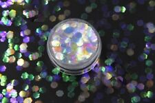 USA CLEAR IRIDESCENT RAINBOW HEX GLITTER 4MM Nail Art Solvent Resistant Chunky