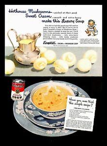 1948 Campbells Cream Of Mushroom Soup Vintage PRINT AD Chicken A La King Recipe