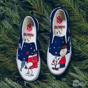 Vans SLIP ON Peanuts Limited Snoopy A Charlie Brown Christmas Tree KID Size 1.5