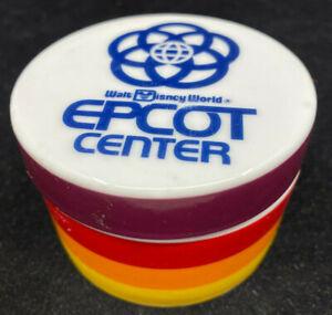 Round Trinket Box Porcelain WDW Walt Disney World Epcot Center Stripes Colorful