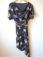 New Womens Black with Floral Print Draped Neck Asymmetric Crepe Dress Size 8-16