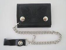 Genuine Leather Trifold Biker Wallet ID Credit Card Money Holder W/ Skull Print.