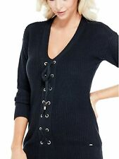 GUESS SWEATER Womens Black Thick Knit Pullover w- Lace Up Details S NEW W- TAGS
