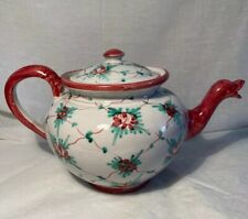 Vintage Tito Corti Italian Pottery Teapot Hand Painted Floral 32oz Italy TC