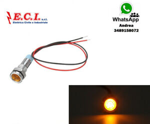 Spia LED Indicador Empotrable 12V 6mm En Metal Amarillo