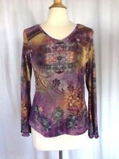 SIZE PL - XCIT U.S.A. Petite Purple Yellow Pink Blue Peach Green Floral Top