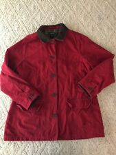 Lands End Flannel Lined Barn Jacket Womens Size 14-16 Red Coat Corduroy Large
