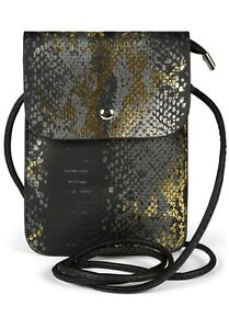 Mini sac Sac épaule peau de serpent Optics Shiny Mobile Bag Ladies Bag