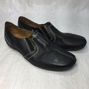 Natural Soul Black Leather Raised Stitched Slip On Causal Womens Loafers Sz 7.5