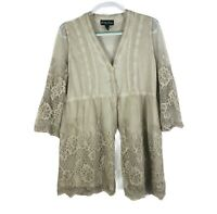 Gretty Zueger Women's Size S Lace Embroidered 3/4 Sleeve Cardigan Peru
