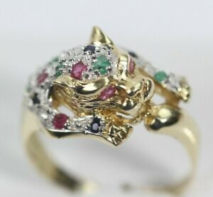 NICE 14k YELLOW GOLD PANTHER RING WITH EMERALD, RUBY, & BLUE SAPPHIRE size 7.50