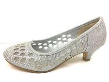 Señoras Mujeres Talón Mediados Nupcial Boda Fiesta Brillo Diamante Tacones Zapatos Talla 4