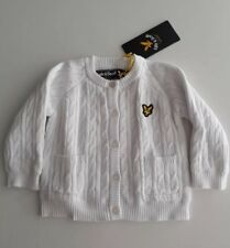 LYLE & SCOTT BABY CARDIGAN WHITE 9-12 MONTHS 100% COTTON CABLE Jumper Gift