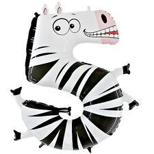 Zebra Number Five Giant Helium Balloon Birthday Party - Zooloons Betallic