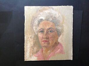 Vintage Impressionist Retro Blond WOMAN Oil PORTRAIT Painting Framed c1970-80s