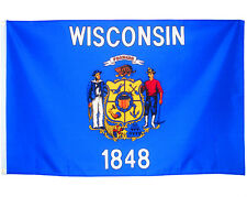 Fahne Wisconsin Querformat 90 x 150 cm U.S.A.  Hiss Flagge Bundesstaat USA