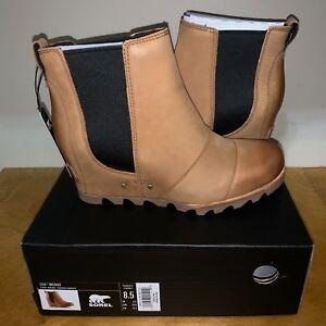 Women's Sorel Lea Wedge Boot NIB Waterproof Camel Elk Tan Ankle Joan Chelsea