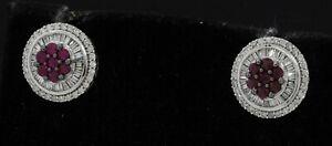 14K white gold elegant 1.86CT VS diamond & ruby cluster stud earrings