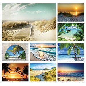 Vlies Fototapete Strand Meer Dünen Ostsee Fensterblick Palmen Landschaft Karibik