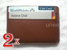 2X New Brown Magnetic Leather Wallet Case Card holder Money Clip