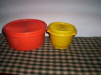 Vintage Tupperware Canister & Bowl With Servalier  Lids