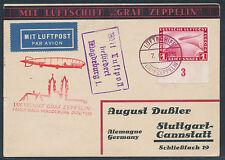 Zeppelin Magdeburgfahrt 1931 1 RM Zeppelin Bogenrand Bordpost Beleg (S13757)