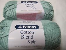 PATONS COTTON BLEND 8PLY 50 GRS 5 BALLS FROSTY GREEN ON SALE,NO 36