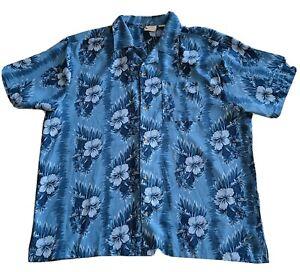 Island Shores Shirt Hawaiian Aloha Style 3X Button Front Big Men Blue Hibiscus