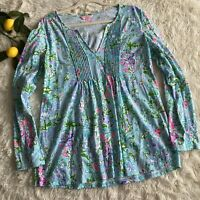 Lilly Pultizer Braylen Southern Charm Pool Blue Tunic Top Women's Size Large