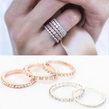 5PCs Party Boho Stacking Ring Set Rose Gold Plated Sparkly Crystal Rhinestone