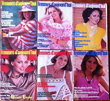 A74) lot de 6 Femmes d'Aujourd'hui 1977; Modes, Beauté, Cuisine, Maison, Lecture