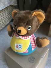 Vintage Fisher Price #719 Cuddly Cub Chime Bear Toy Swivel Head Bell Chime GUC