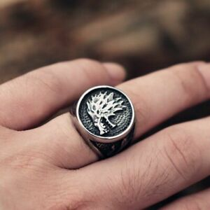 US SELLER STAINLESS STEEL GAME OF THRONES DIRE WOLF SIGNET RING MENS SIZE 11