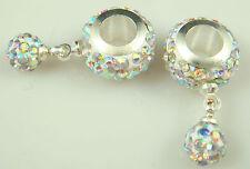 hot Gorgeous Czech Crystals Dangle Bead fit European Charm Bracelet Earrings ae4