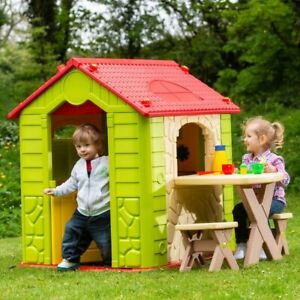 Kids Playhouse with Table and Chairs Garden Play House Fun Summer Outdoor Fun