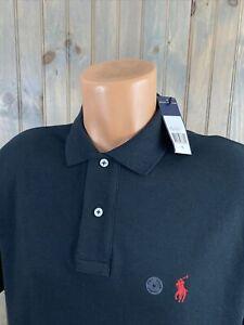NWT Polo Ralph Lauren Short Sleeve Black Shirt  Red PONY SMOOTH COTTON NEW Sz M