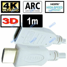 WHITE 1m HDMI EXTENSION MALE TO FEMALE 3D 4K CABLE FULL HD 2160p TV LEAD