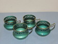 Four Vintage Oppenheim Hand Made In Israel Enameled Brass Cup Holders (S)