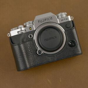 Design For FUJIFILM X-T4 XT4 BLACK Handmade Genuine Leather Camera Half Case